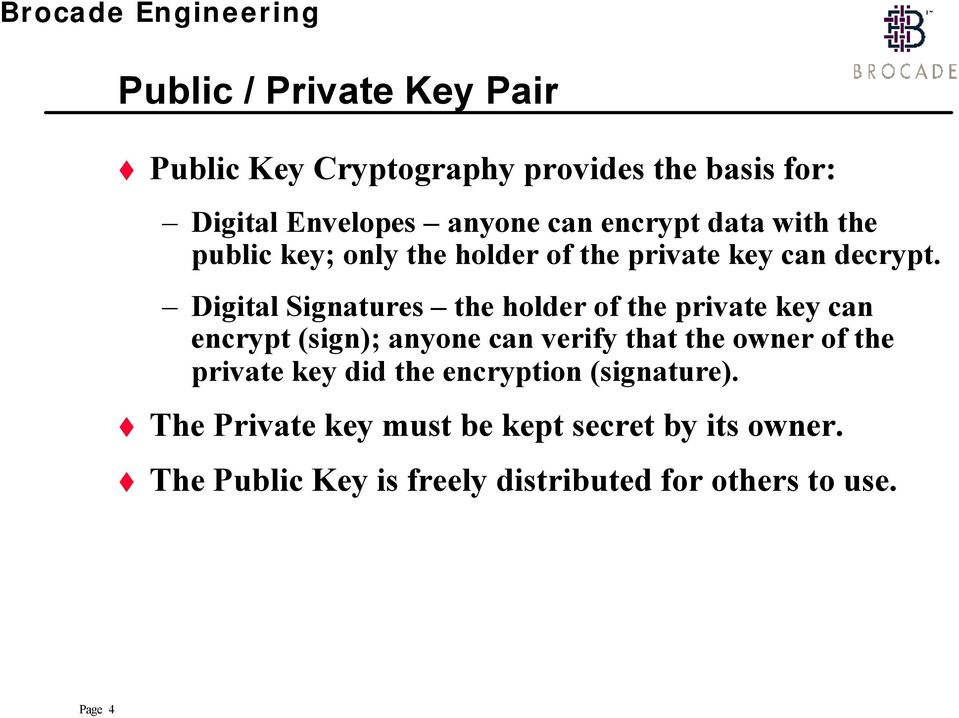 Digital Signatures the holder of the private key can encrypt (sign); anyone can verify that the owner of the