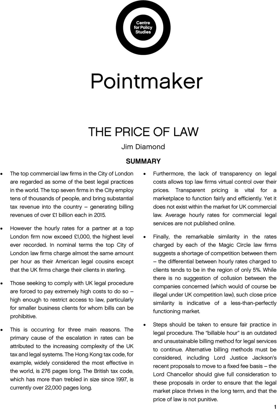 Pointmaker THE PRICE OF LAW  Jim Diamond SUMMARY  Furthermore, the