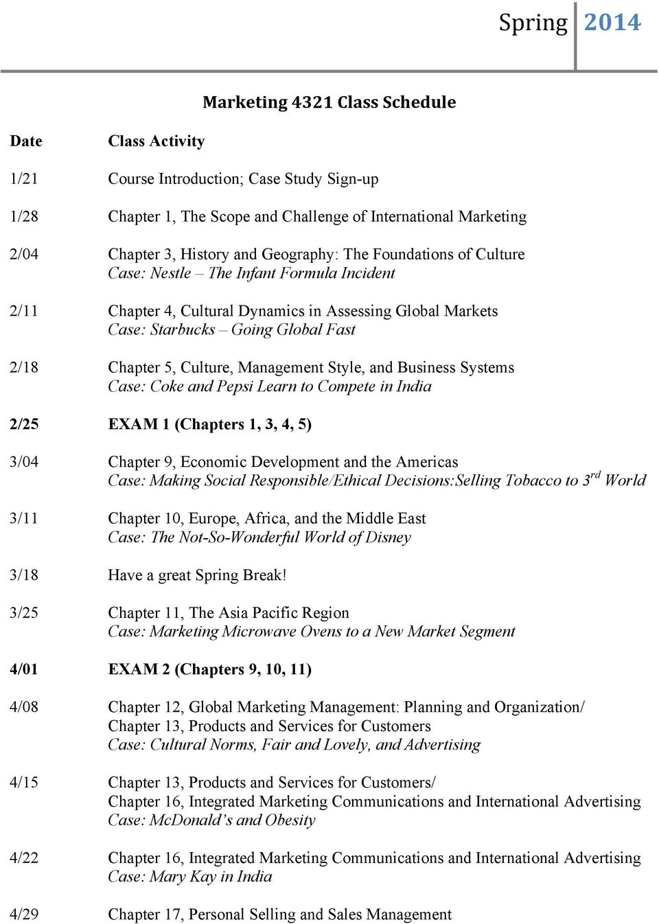 Culture, Management Style, and Business Systems Case: Coke and Pepsi Learn to Compete in India 2/25 EXAM 1 (Chapters 1, 3, 4, 5) 3/04 Chapter 9, Economic Development and the Americas Case: Making