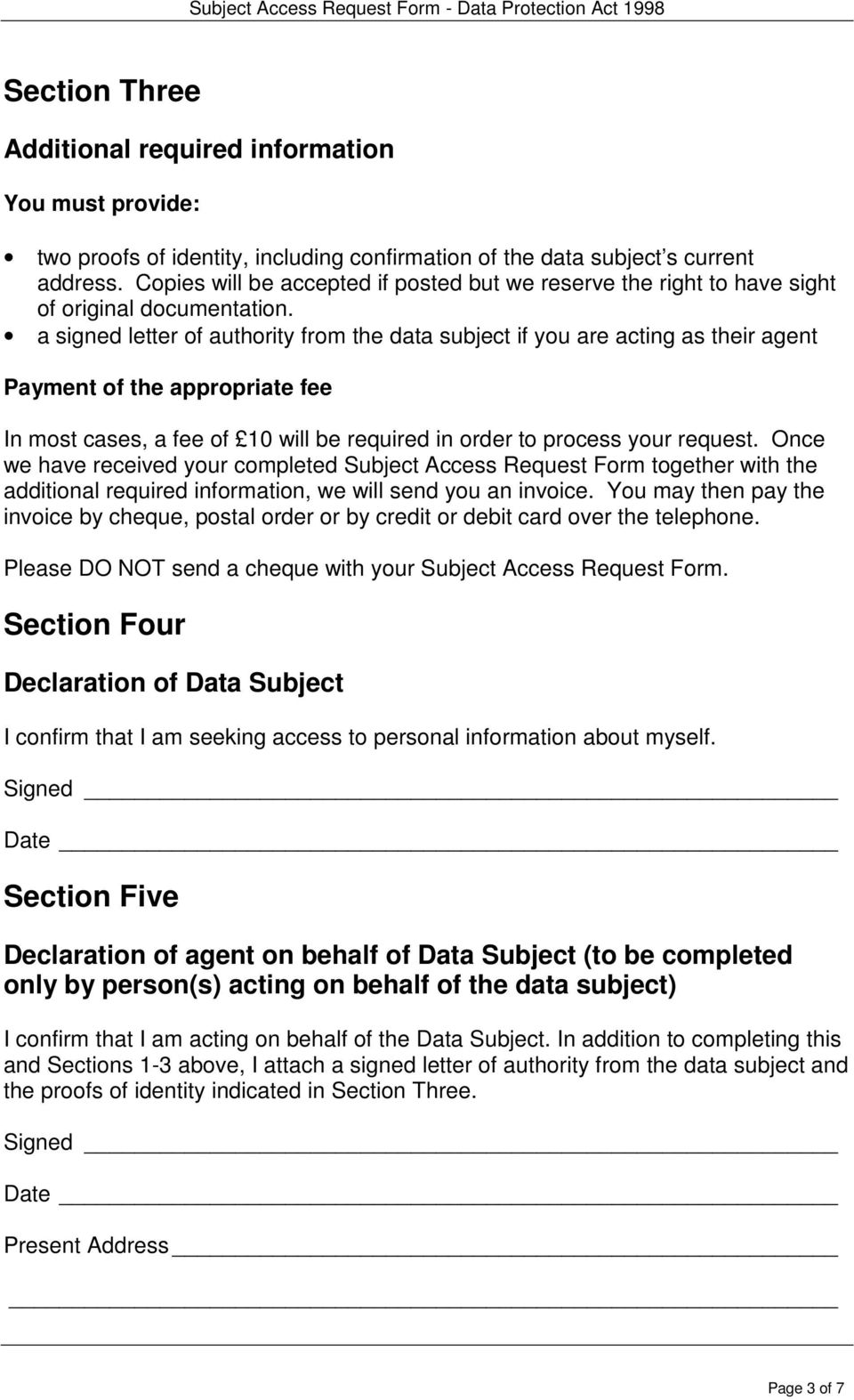 Subject access request form pdf a signed letter of authority from the data subject if you are acting as their agent altavistaventures Gallery