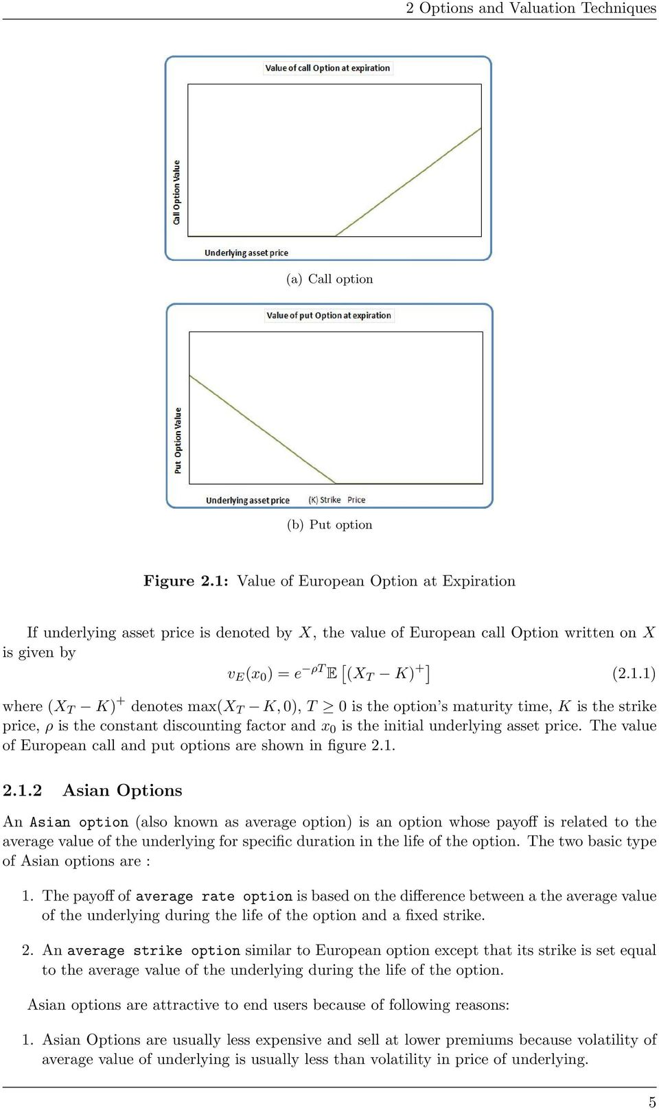 The value of European call and put options are shown in figure 2.1.