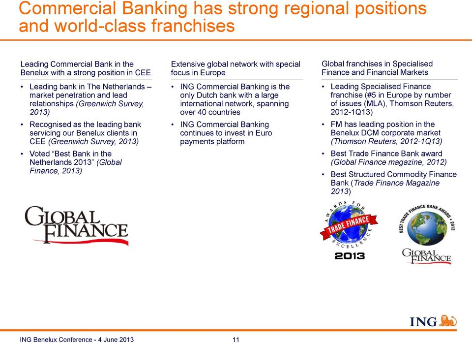Extensive global network with special focus in Europe ING Commercial Banking is the only Dutch bank with a large international network, spanning over 40 countries ING Commercial Banking continues to