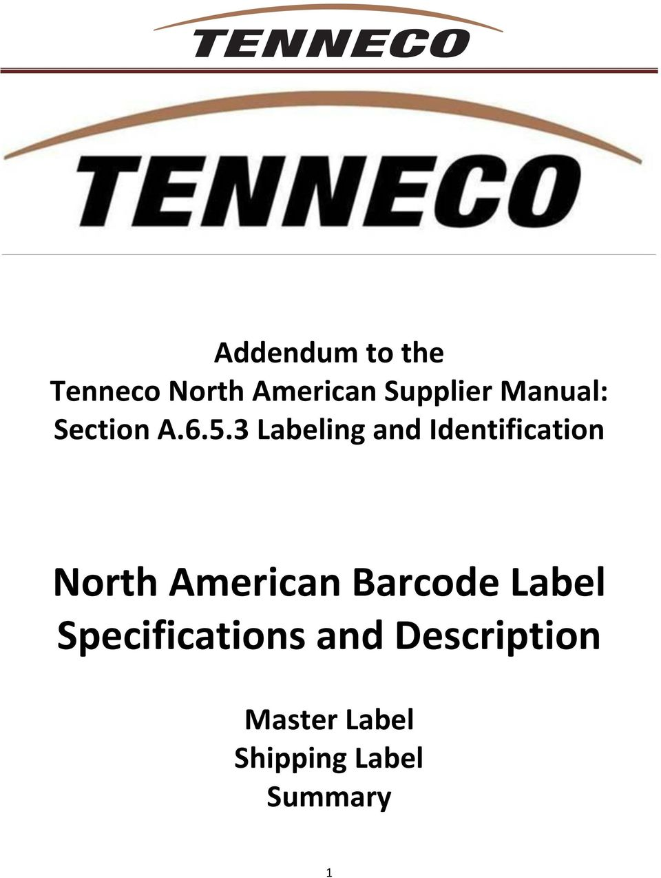 3 Labeling and Identification North American