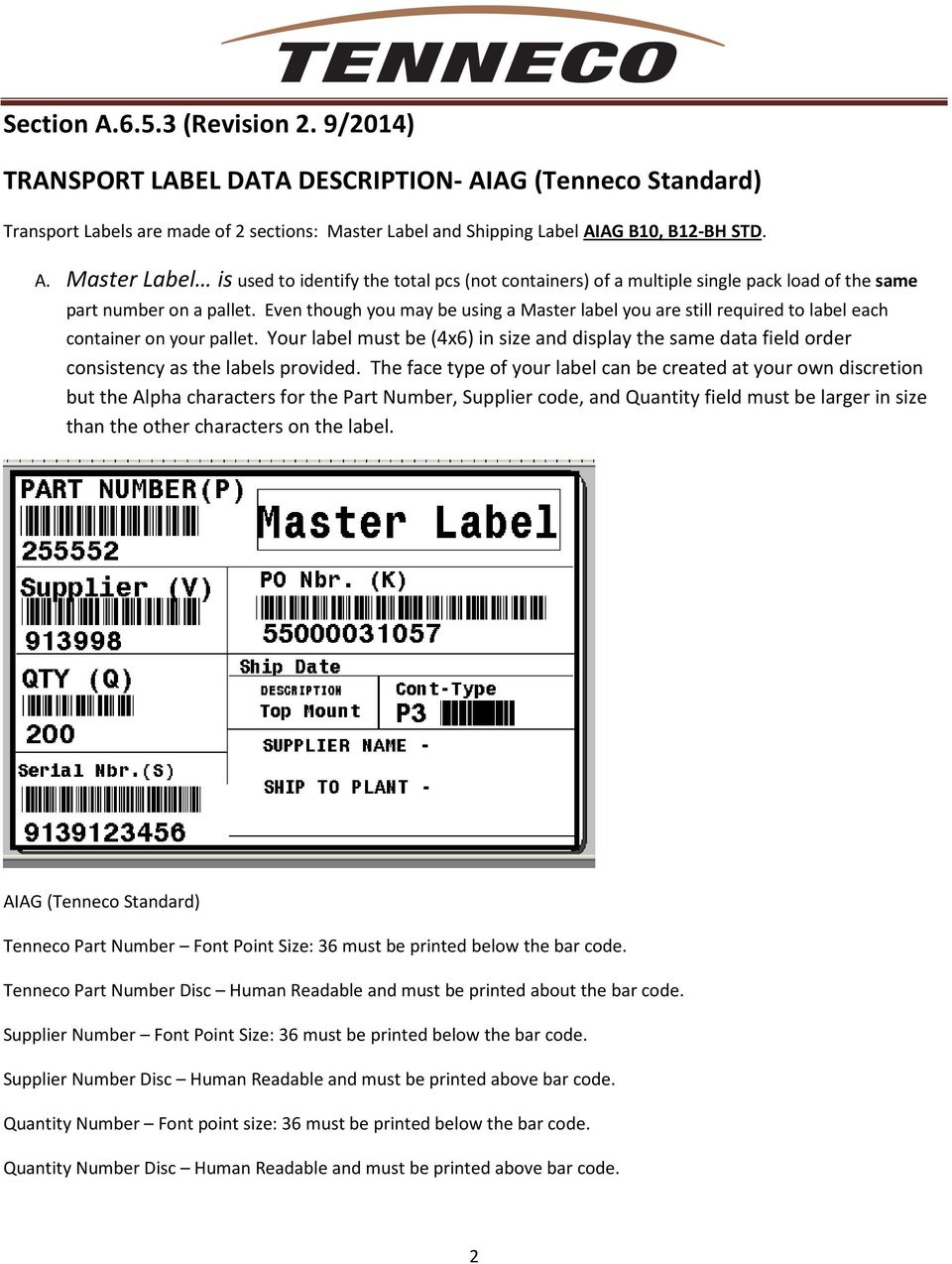 Your label must be (4x6) in size and display the same data field order consistency as the labels provided.