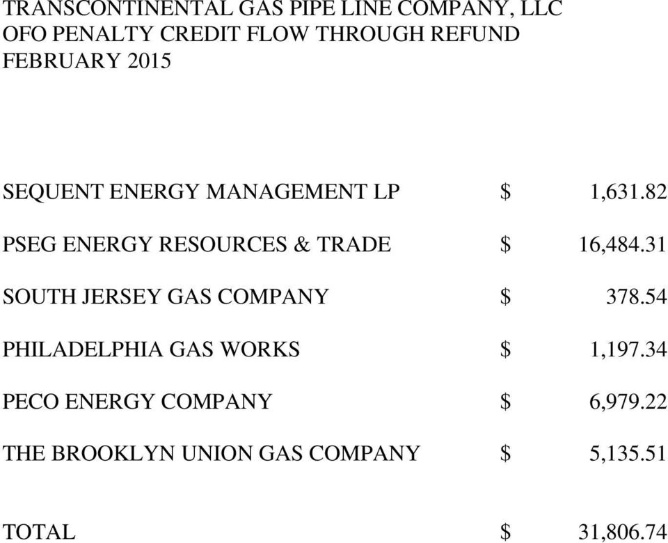 82 PSEG ENERGY RESOURCES & TRADE $ 16,484.31 SOUTH JERSEY GAS COMPANY $ 378.