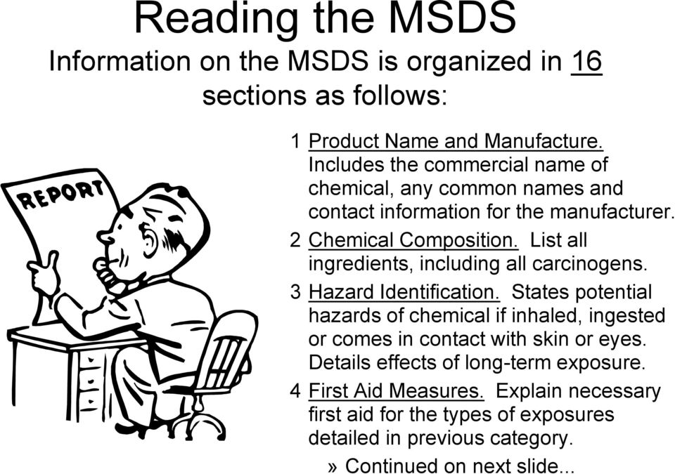 List all ingredients, including all carcinogens. 3 Hazard Identification.