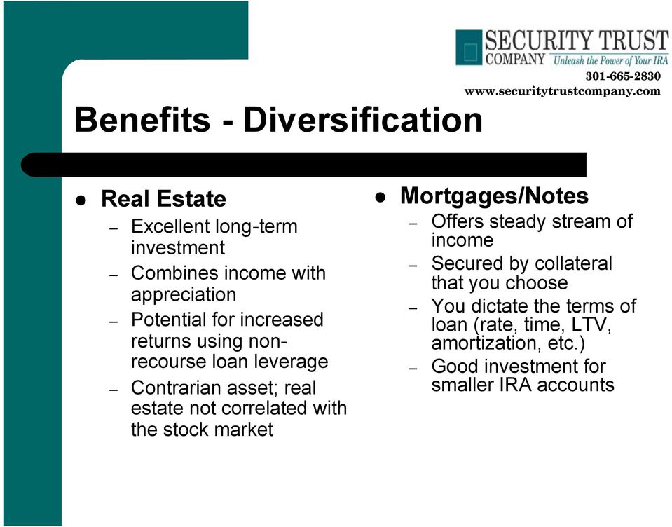 correlated with the stock market Mortgages/Notes Offers steady stream of income Secured by collateral that
