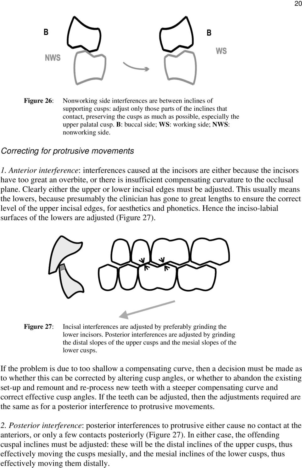 Anterior interference: interferences caused at the incisors are either because the incisors have too great an overbite, or there is insufficient compensating curvature to the occlusal plane.