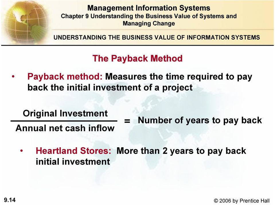 Original Investment Annual net cash inflow = Number of years to pay back Heartland