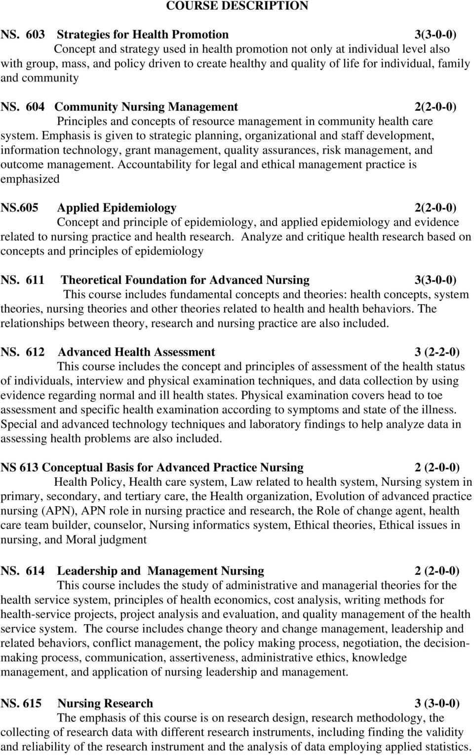 individual, family and community NS. 604 Community Nursing Management 2(2-0-0) Principles and concepts of resource management in community health care system.