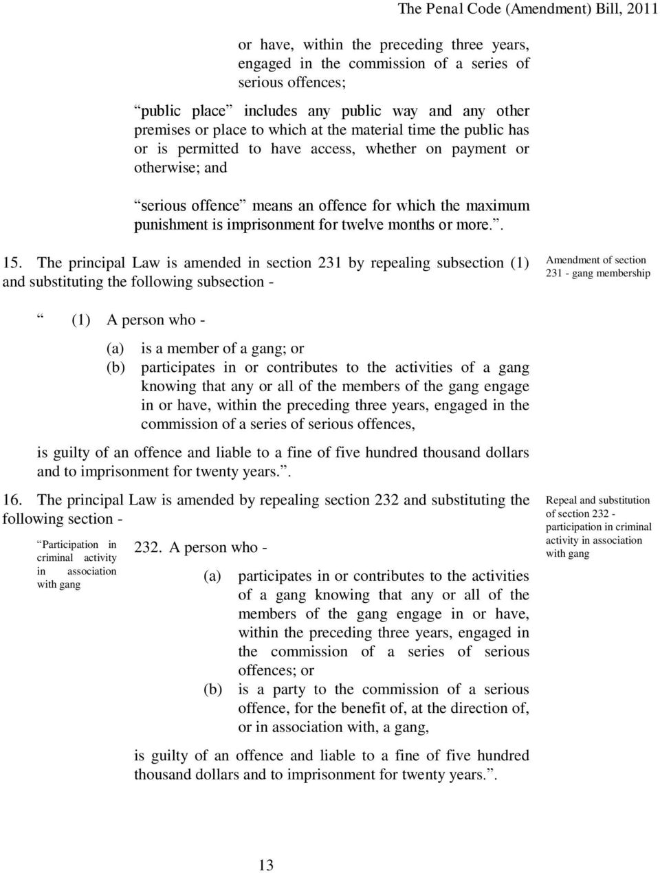 . 15. The principal Law is amended in section 231 by repealing subsection (1) and substituting the following subsection - (1) A person who - (a) is a member of a gang; or (b) participates in or
