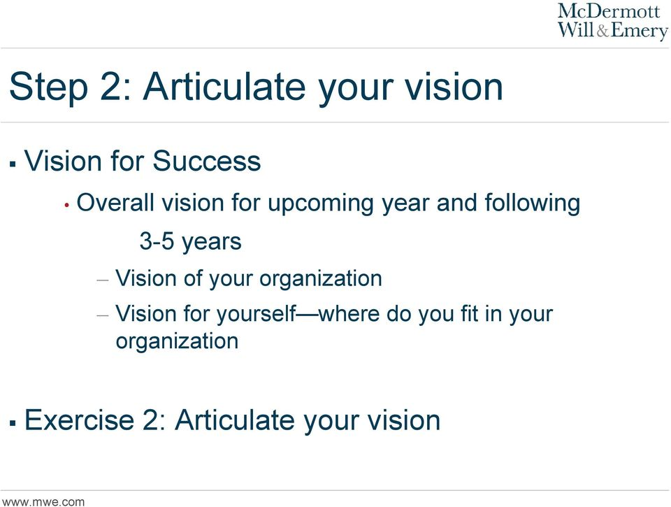 Vision of your organization Vision for yourself where do