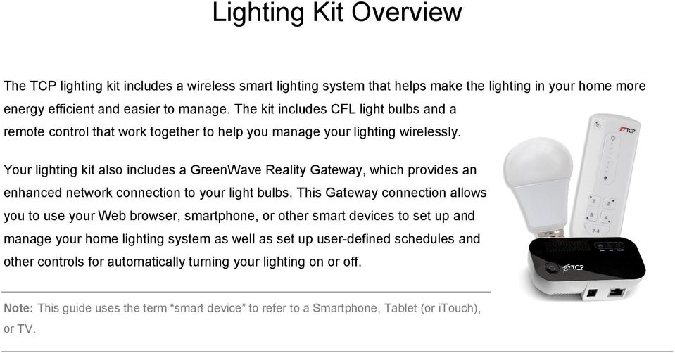 Your lighting kit also includes a GreenWave Reality Gateway, which provides an enhanced network connection to your light bulbs.