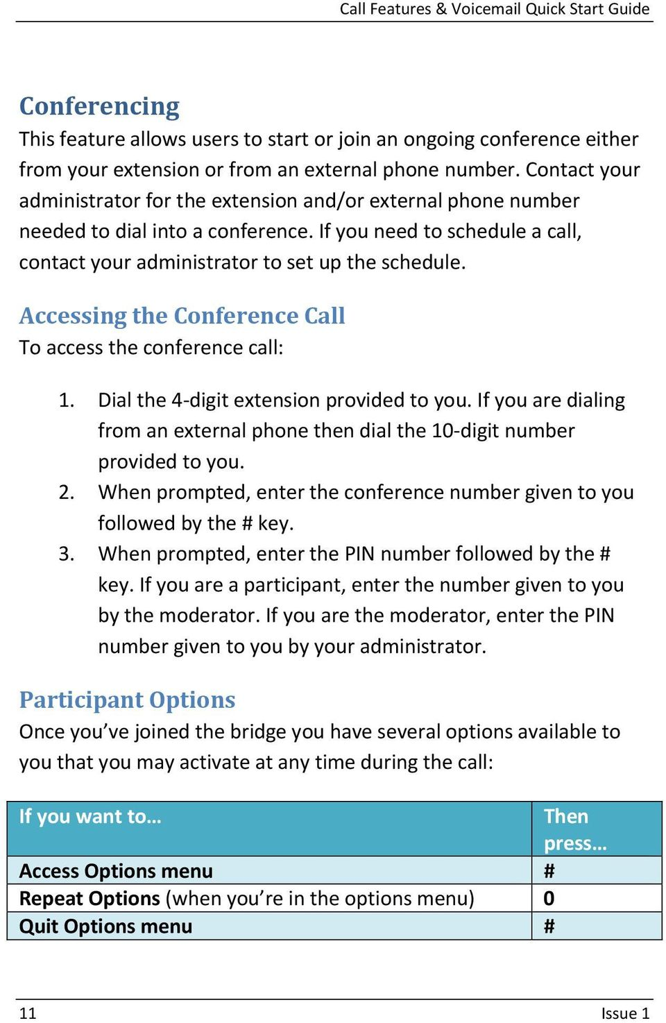 Accessing the Conference Call To access the conference call: 1. Dial the 4 digit extension provided to you. If you are dialing from an external phone then dial the 10 digit number provided to you. 2.