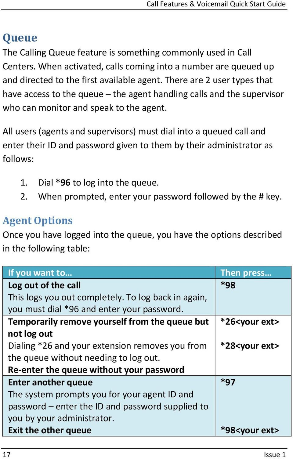 All users (agents and supervisors) must dial into a queued call and enter their ID and password given to them by their administrator as follows: 1. Dial *96 to log into the queue. 2.