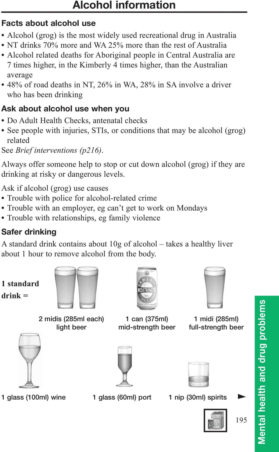 drinking Ask about alcohol use when you Do Adult Health Checks, antenatal checks See people with injuries, STIs, or conditions that may be alcohol (grog) related See Brief interventions (p216).