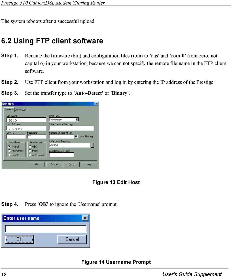 not specify the remote file name in the FTP client software.