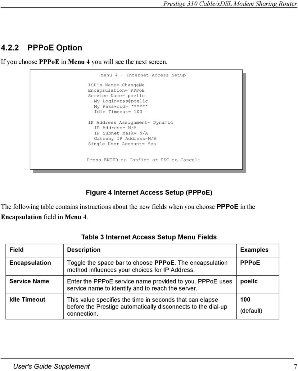 IP Subnet Mask= N/A Gateway IP Address=N/A Single User Account= Yes Press ENTER to Confirm or ESC to Cancel: Figure 4 Internet Access Setup (PPPoE) The following table contains instructions about the