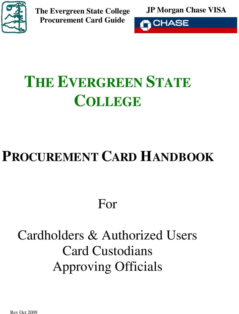 PROCUREMENT CARD HANDBOOK For Cardholders &