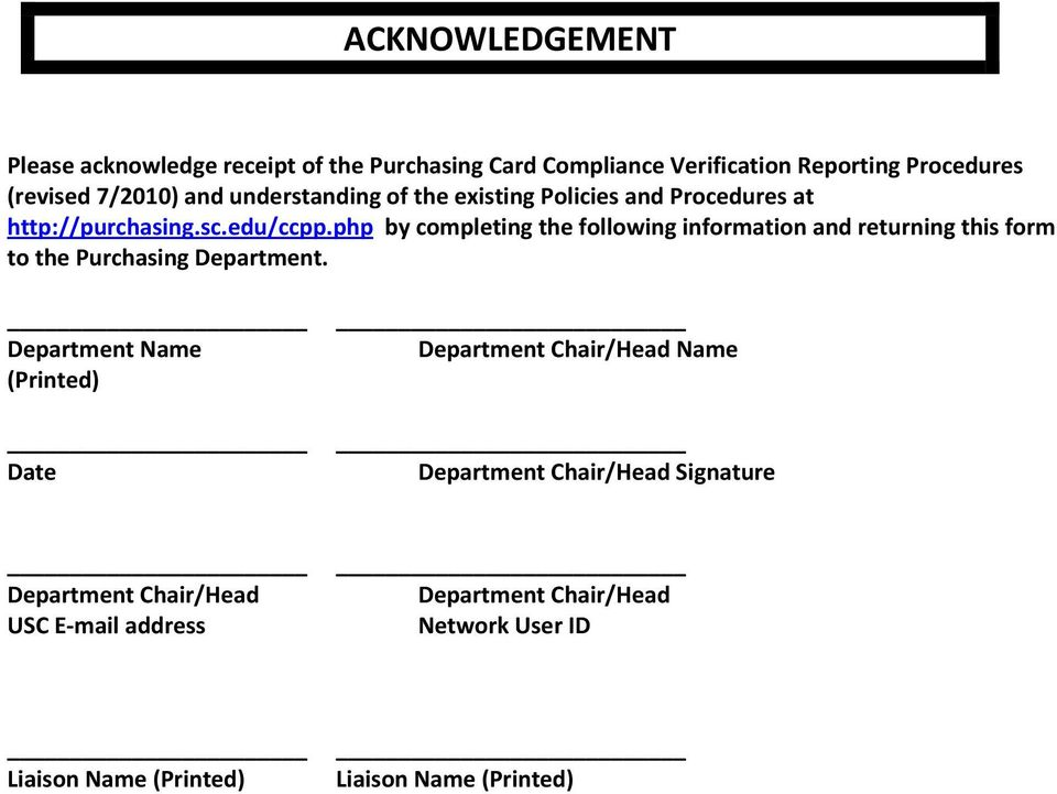 php by completing the following information and returning this form to the Purchasing Department.