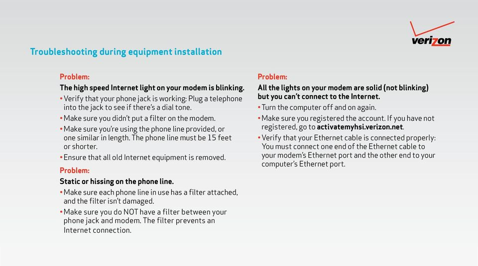 Make sure you re using the phone line provided, or one similar in length. The phone line must be 15 feet or shorter. Ensure that all old Internet equipment is removed.