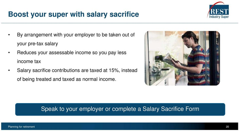 sacrifice contributions are taxed at 15%, instead of being treated and taxed as normal