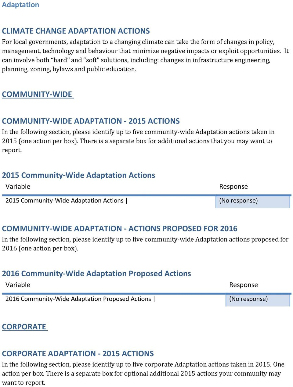 COMMUNITY-WIDE COMMUNITY-WIDE ADAPTATION - 2015 ACTIONS In the following section, please identify up to five community-wide Adaptation actions taken in 2015 (one action per box).