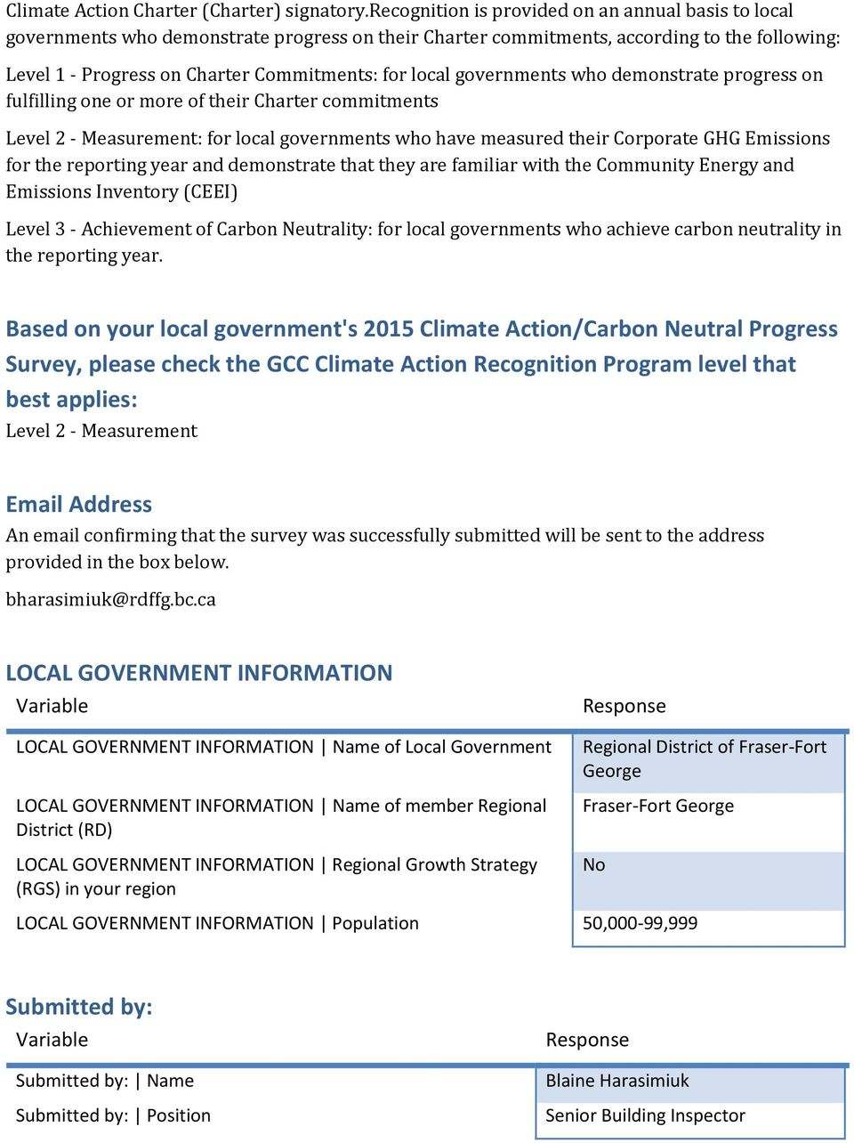 governments who demonstrate progress on fulfilling one or more of their Charter commitments Level 2 - Measurement: for local governments who have measured their Corporate GHG Emissions for the