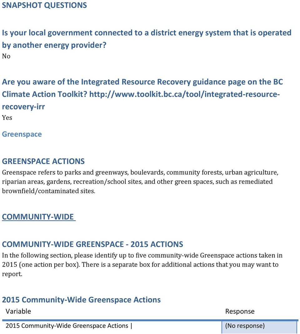 ca/tool/integrated-resourcerecovery-irr Yes Greenspace GREENSPACE ACTIONS Greenspace refers to parks and greenways, boulevards, community forests, urban agriculture, riparian areas, gardens,