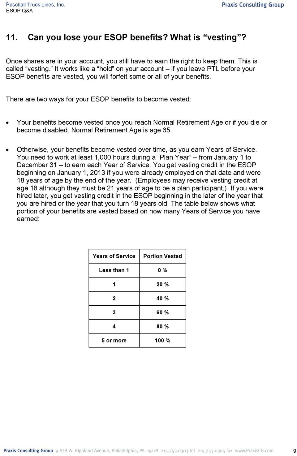 There are two ways for your ESOP benefits to become vested: Your benefits become vested once you reach Normal Retirement Age or if you die or become disabled. Normal Retirement Age is age 65.