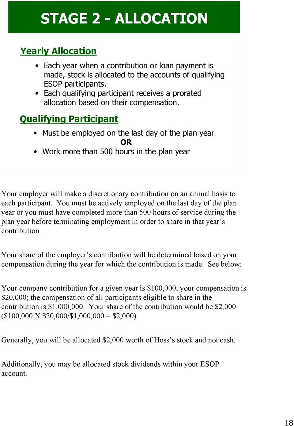 Qualifying Participant Must be employed on the last day of the plan year OR Work more than 500 hours in the plan year Your employer will make a discretionary contribution on an annual basis to each
