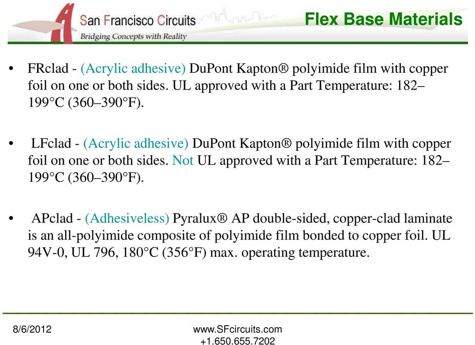 LFclad - (Acrylic adhesive) DuPont Kapton polyimide film with copper foil on one or both sides.