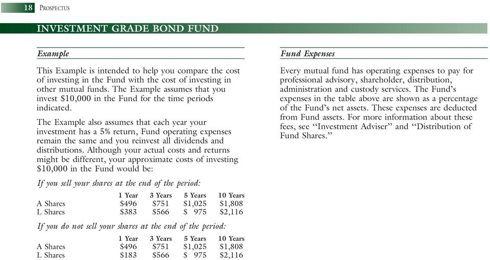 The Example also assumes that each year your investment has a 5% return, Fund operating expenses remain the same and you reinvest all dividends and distributions.