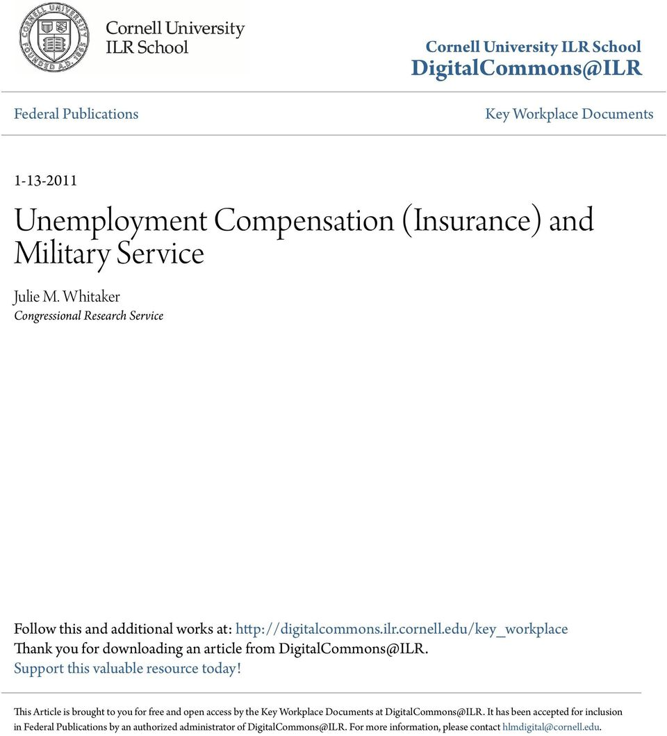 edu/key_workplace Thank you for downloading an article from DigitalCommons@ILR. Support this valuable resource today!