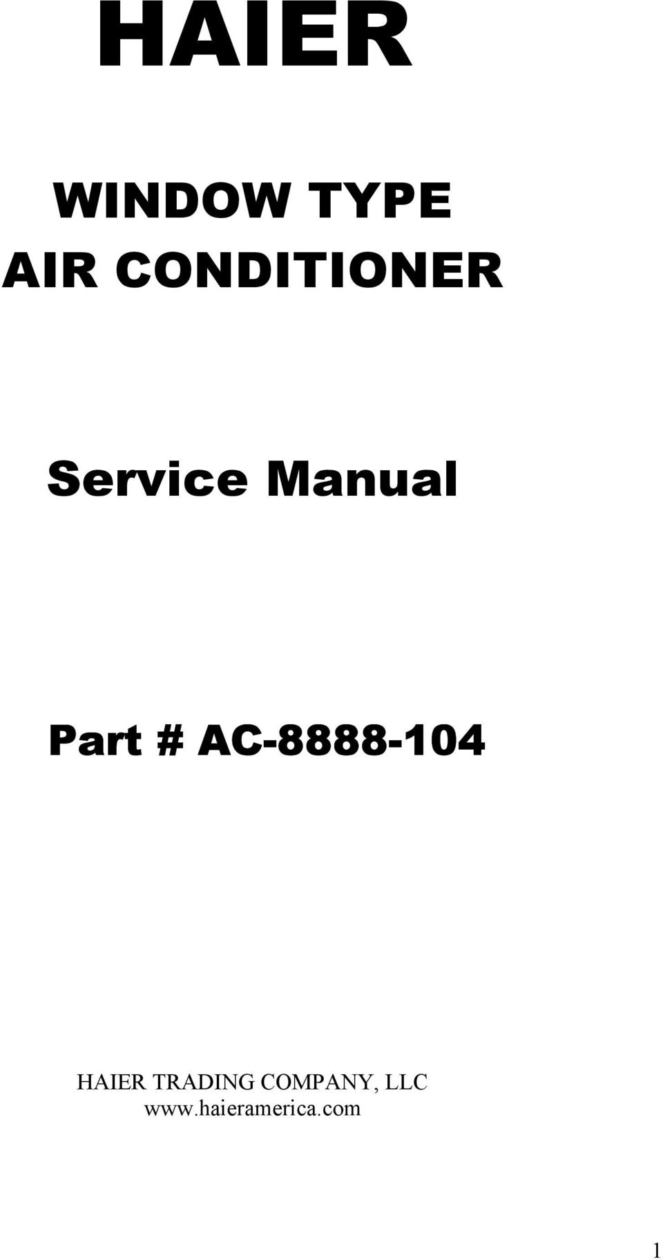 haier window type air conditioner  service manual  part