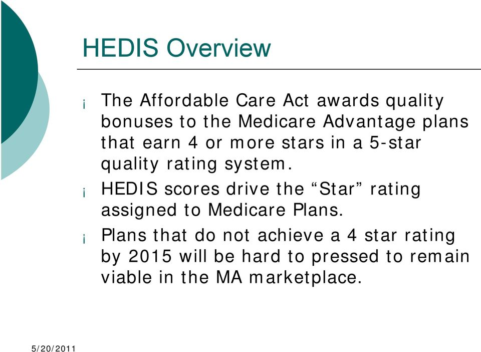 HEDIS scores drive the Star rating assigned to Medicare Plans.