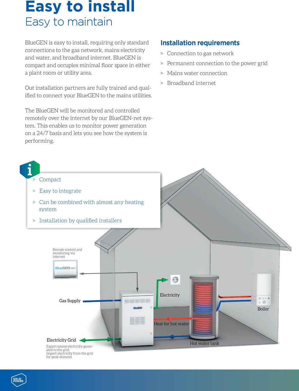 Installation requirements > Connection to gas network > Permanent connection to the power grid > Mains water connection > Broadband internet The BlueGEN will be monitored and controlled remotely over