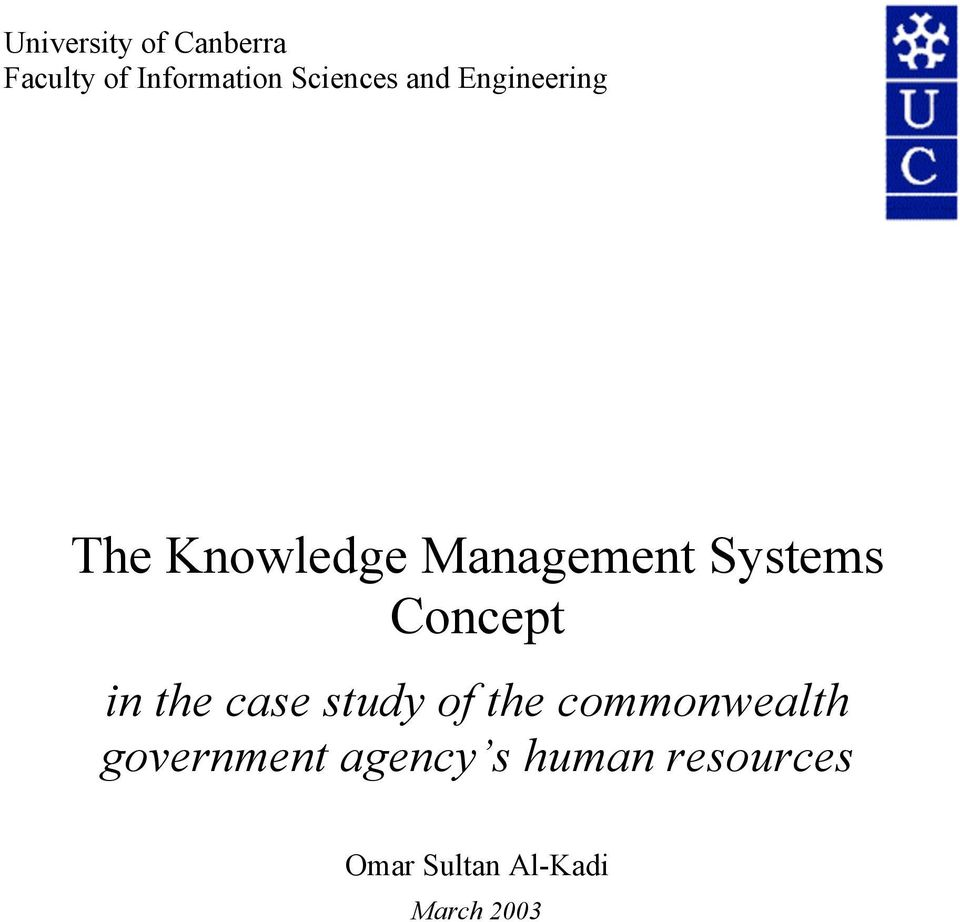 Systems Concept in the case study of the commonwealth