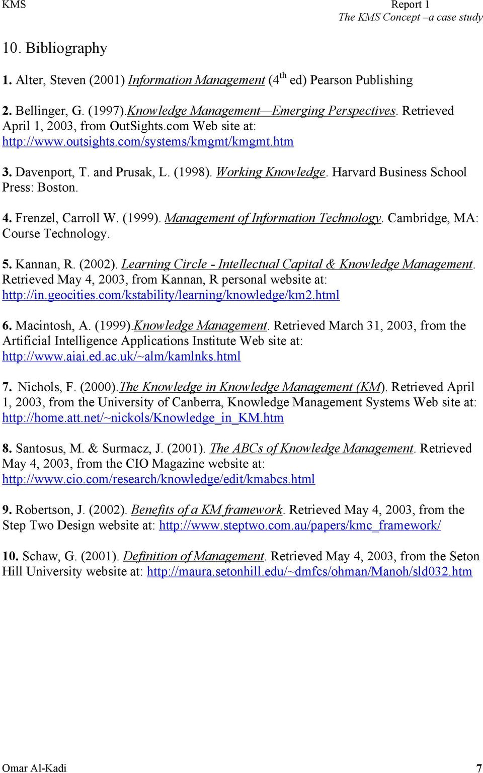 Harvard Business School Press: Boston. 4. Frenzel, Carroll W. (1999). Management of Information Technology. Cambridge, MA: Course Technology. 5. Kannan, R. (2002).