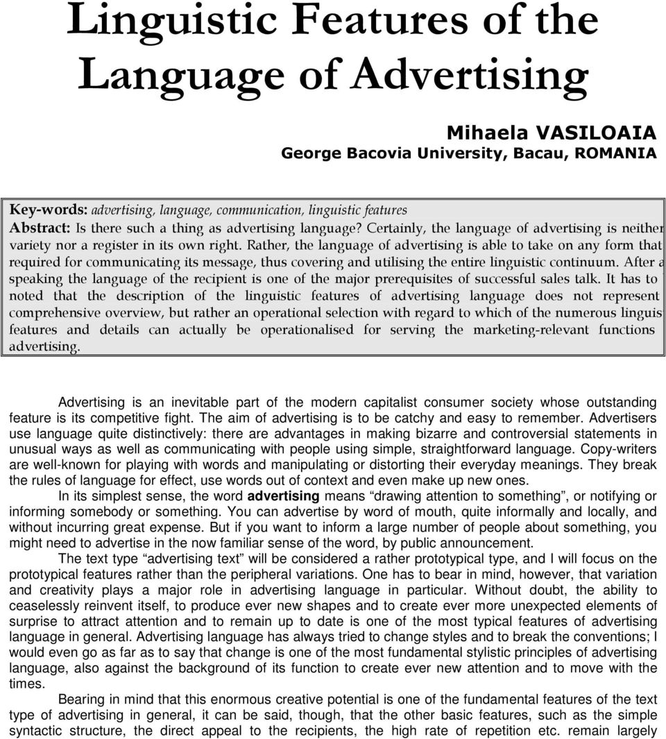 Language of advertising and its features