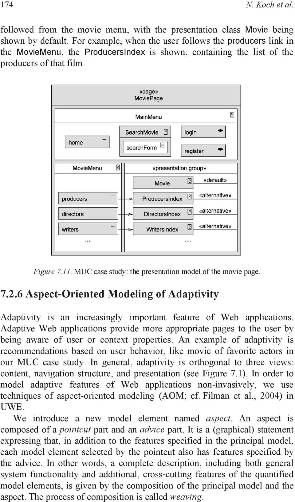 MUC case study: the presentation model of the movie page. 7.2.6 Aspect-Oriented Modeling of Adaptivity Adaptivity is an increasingly important feature of Web applications.
