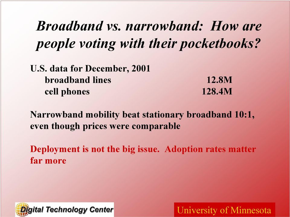 4M Narrowband mobility beat stationary broadband 10:1, even though