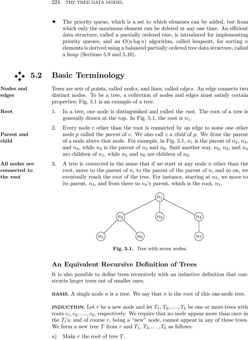 balanced partially ordered tree data structure, called a heap (Sections 5.9 and 5.10). 5.2 Basic Terminology Nodes and edges Root Trees are sets of points, called nodes, and lines, called edges.