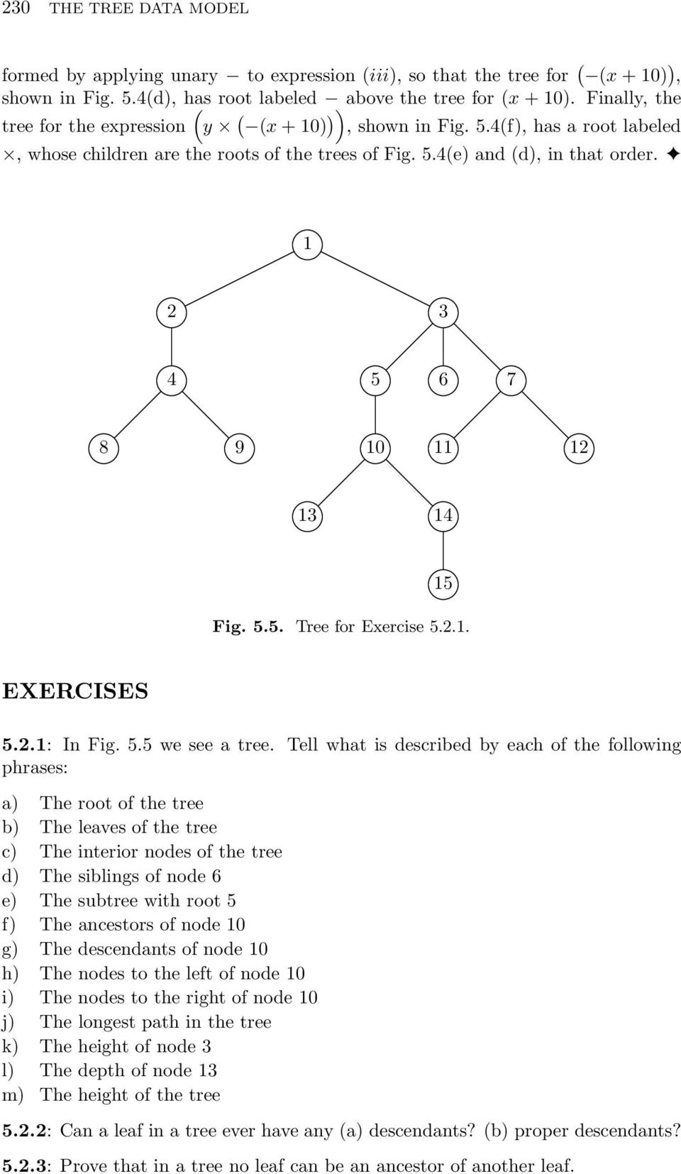 1 2 3 4 5 6 7 8 9 10 11 12 13 14 15 Fig. 5.5. Tree for Exercise 5.2.1. EXERCISES 5.2.1: In Fig. 5.5 we see a tree.