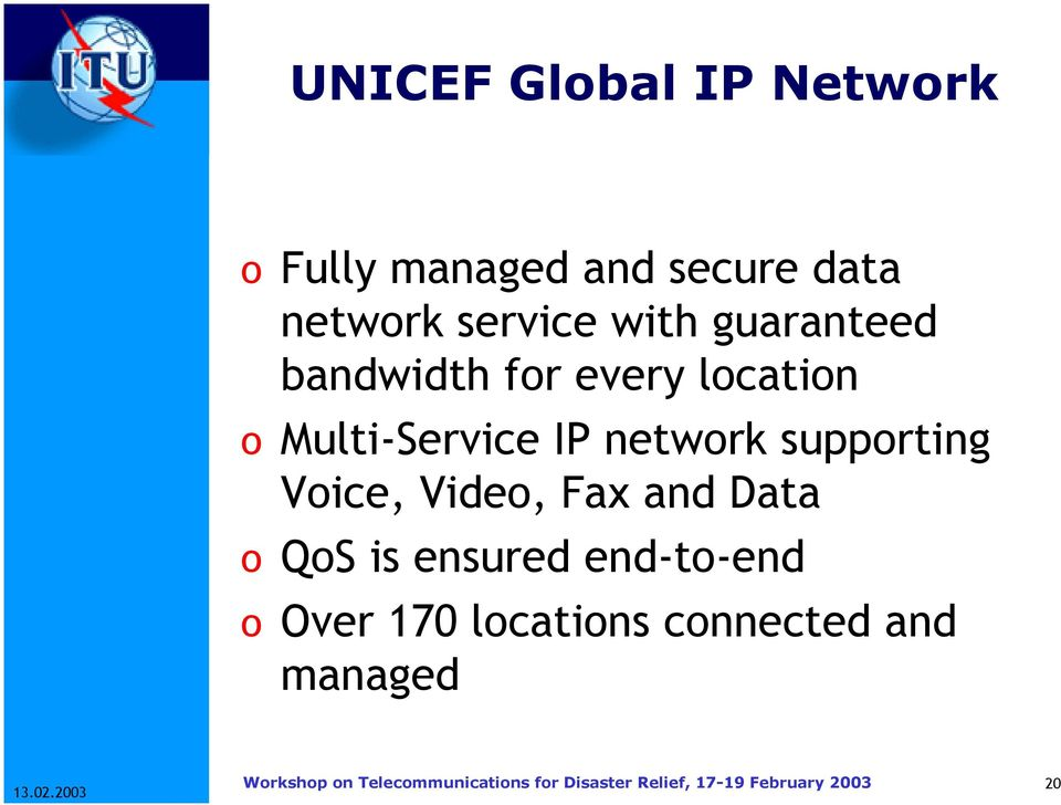 Multi-Service IP network supporting Voice, Video, Fax and Data