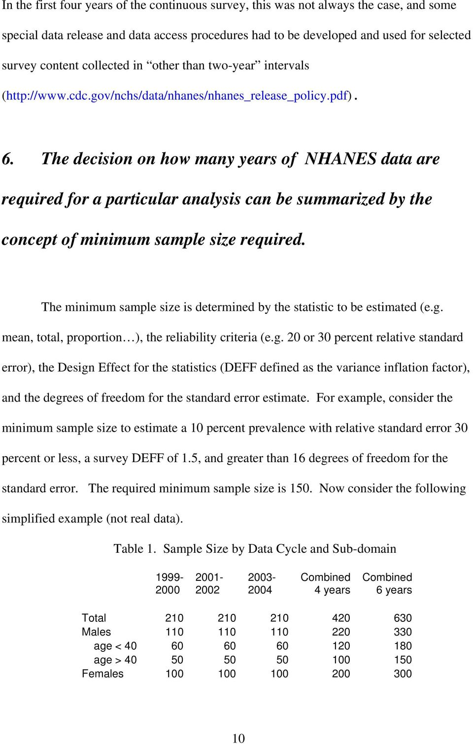 The decision on how many years of NHANES data are required for a particular analysis can be summarized by the concept of minimum sample size required.
