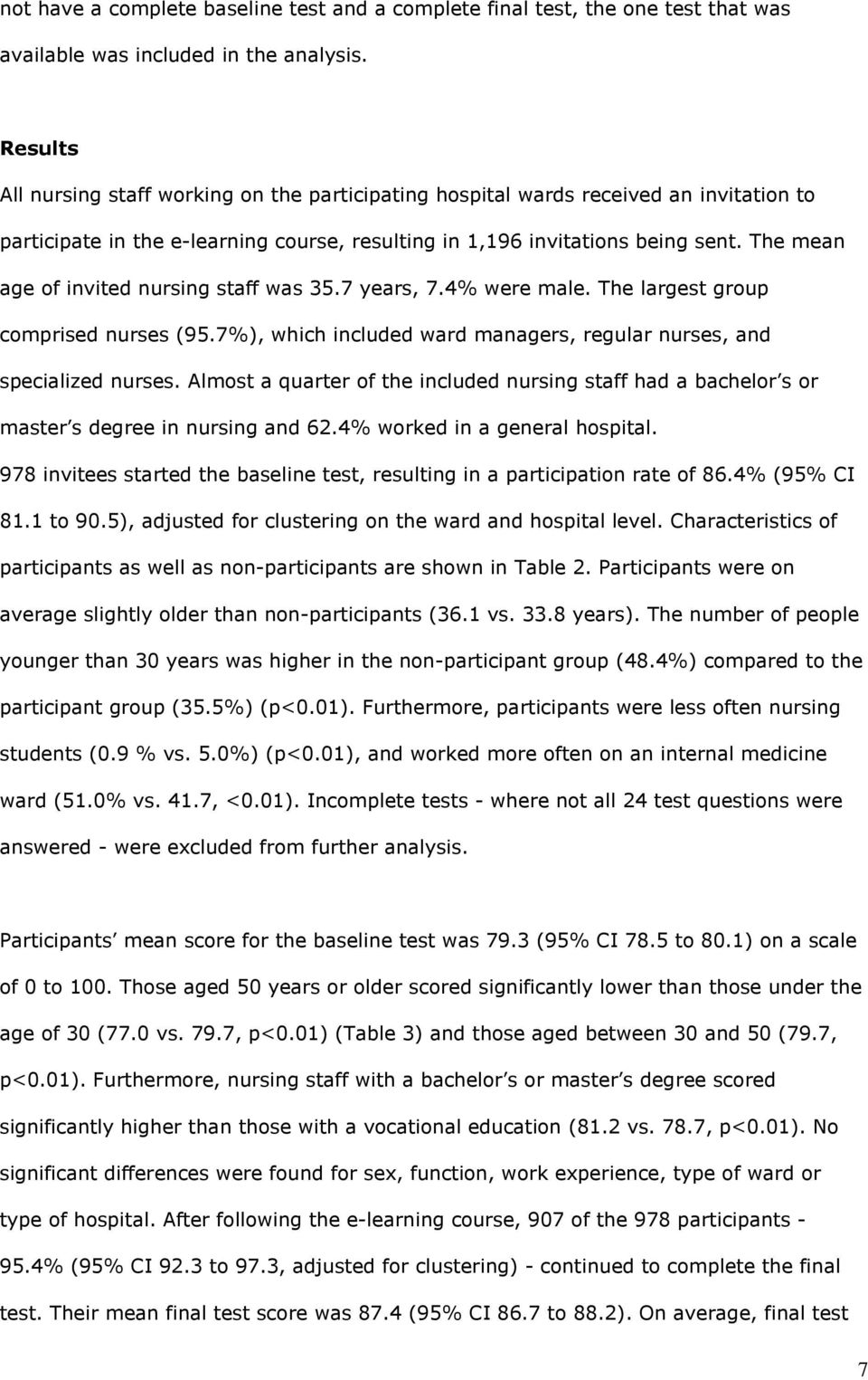 The mean age of invited nursing staff was 35.7 years, 7.4% were male. The largest group comprised nurses (95.7%), which included ward managers, regular nurses, and specialized nurses.