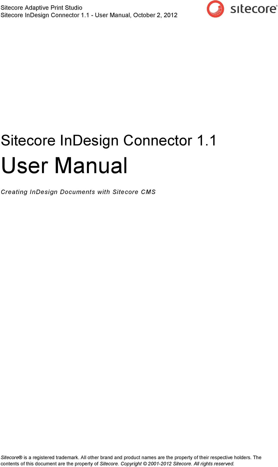 1 - User Manual, October 2, 2012 Sitecore 1