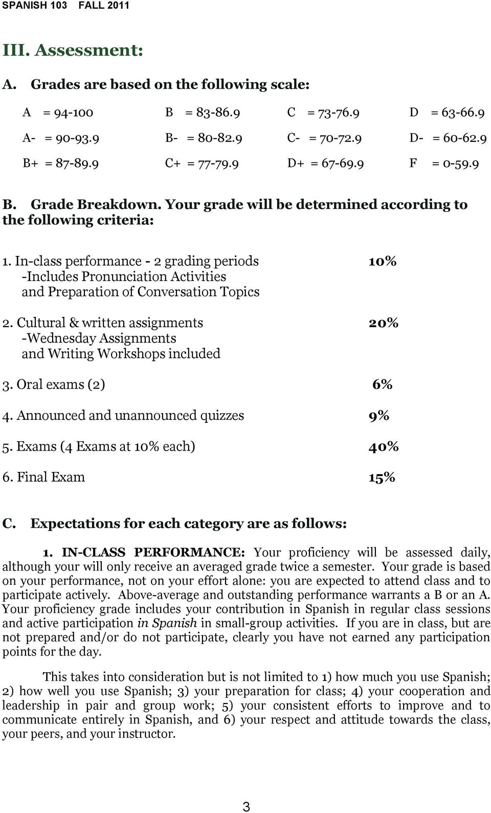 In-class performance - 2 grading periods 10% -Includes Pronunciation Activities and Preparation of Conversation Topics 2.