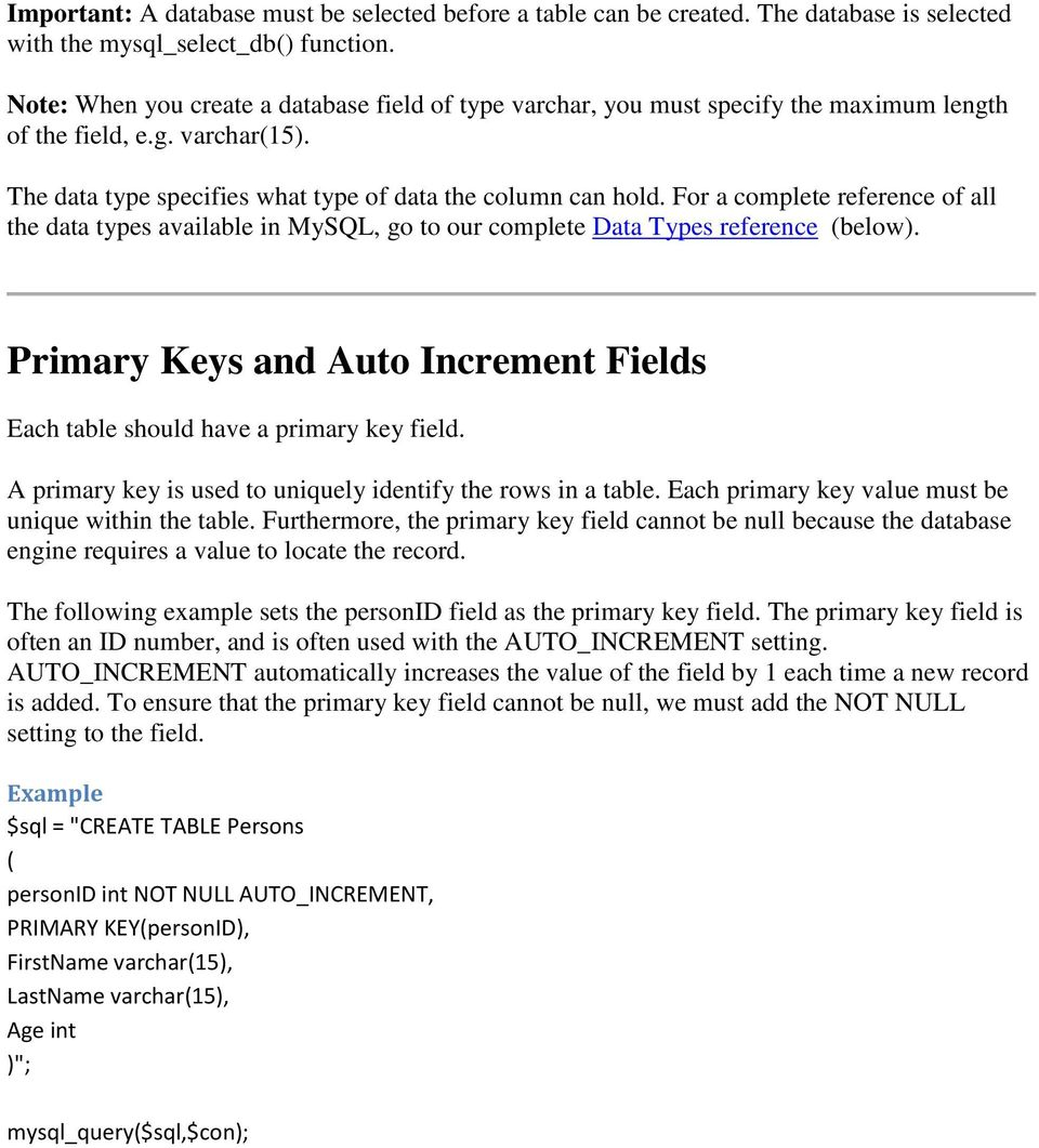 For a complete reference of all the data types available in MySQL, go to our complete Data Types reference (below). Primary Keys and Auto Increment Fields Each table should have a primary key field.